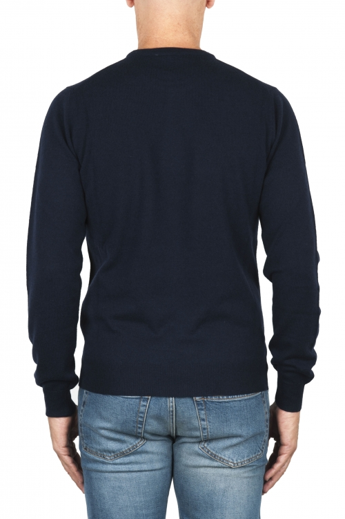 SBU 01874_19AW Blue crew neck sweater in merino wool extra fine 01