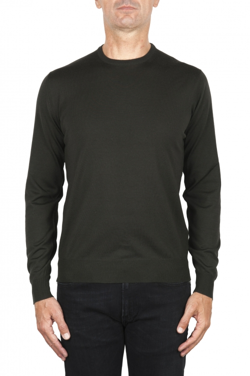 SBU 01876_19AW Green crew neck sweater in merino wool extra fine 01