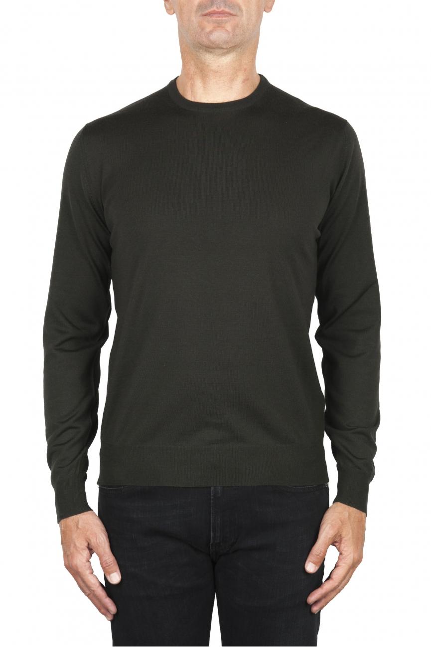 SBU 01876_19AW Jersey verde con cuello redondo en lana merino extra fino 01