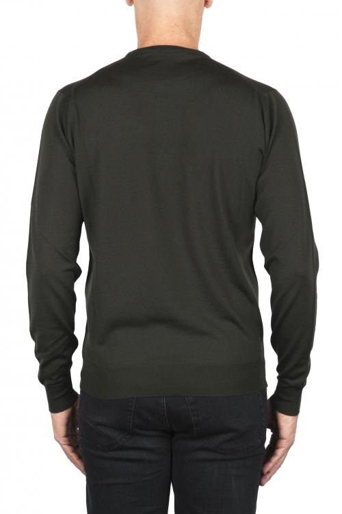 SBU 01876_19AW Green crew neck sweater in merino wool extra fine 01