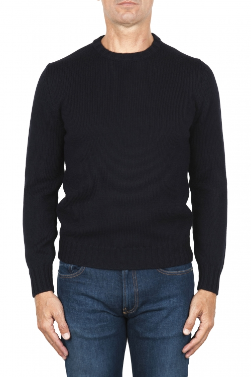 SBU 01877_19AW メリノウールの極細のブルーのクルーネックセーター 01