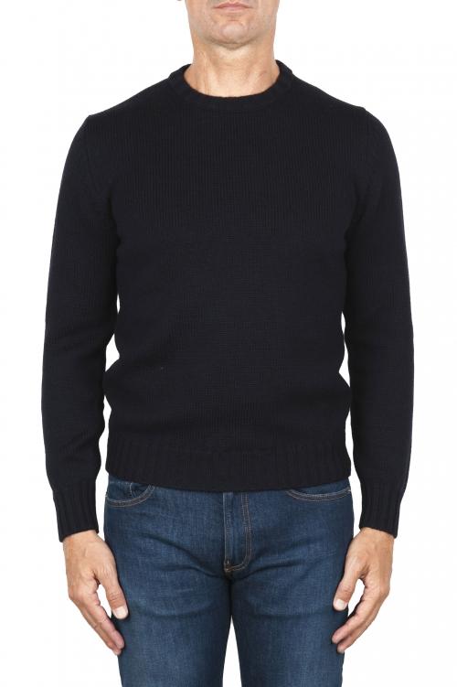 SBU 01877_19AW Maglia girocollo in lana merino extra fine blue 01