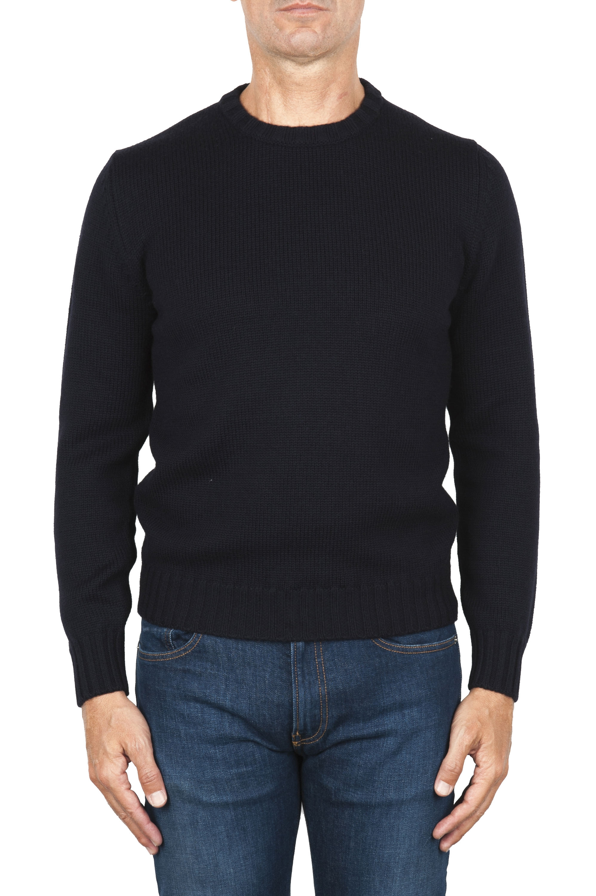 SBU 01877_19AW Blue crew neck sweater in merino wool extra fine 01