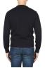 SBU 01877_19AW Jersey azul con cuello redondo en lana merino extra fino 05