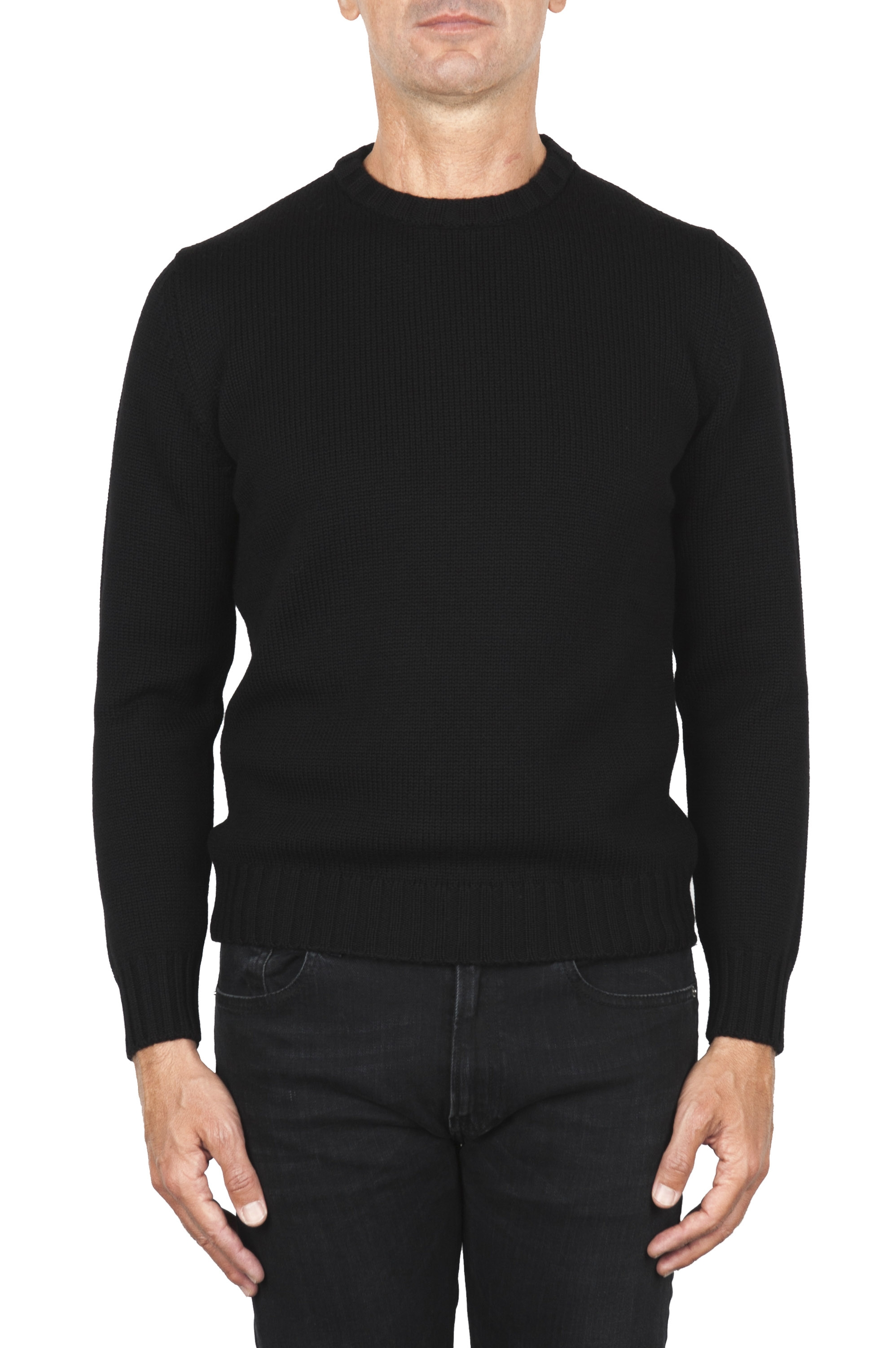 SBU 01878_19AW Black crew neck sweater in merino wool extra fine 01