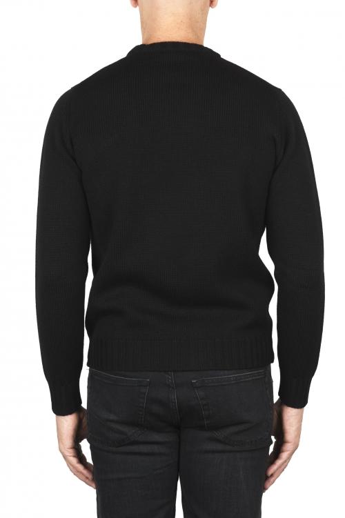 SBU 01878_19AW Black crew neck sweater in merino wool extra fine 01