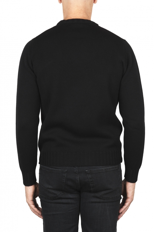 SBU 01878_19AW Pull à col rond noir en laine mérinos extra fine 01