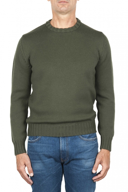 SBU 01879_19AW Green crew neck sweater in merino wool extra fine 01