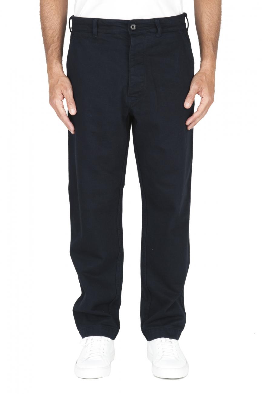 SBU 01880_19AW Pantaloni comfort in cotone blu 01