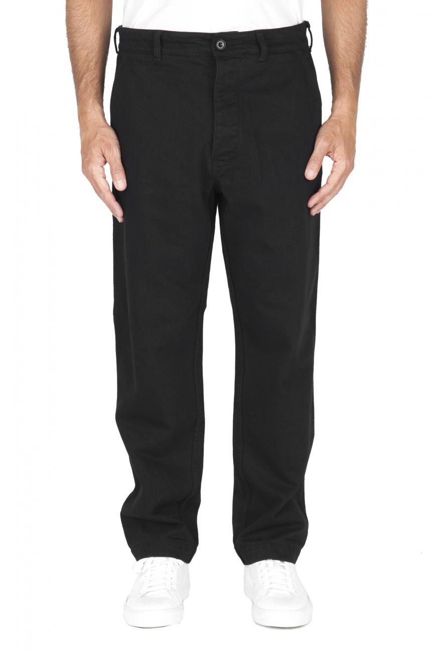 SBU 01881_19AW Pantaloni comfort in cotone nero 01