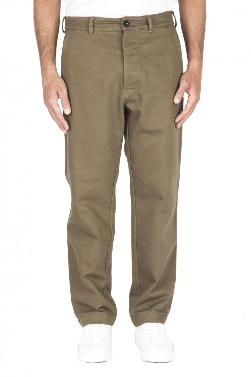 SBU 01882_19AW Pantaloni comfort in cotone verdi 01