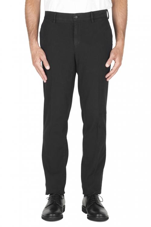 SBU 01884_19AW Pantalón chino ojo de perdiz en algodón elástico negro 01