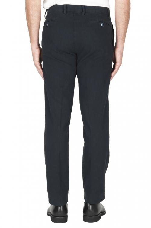 SBU 01885_19AW Pantalón chino ojo de perdiz en algodón elástico azul marino 01