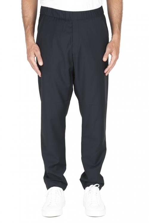 SBU 01886_19AW Pantalon en laine fraîche à taille coulissée bleu 01