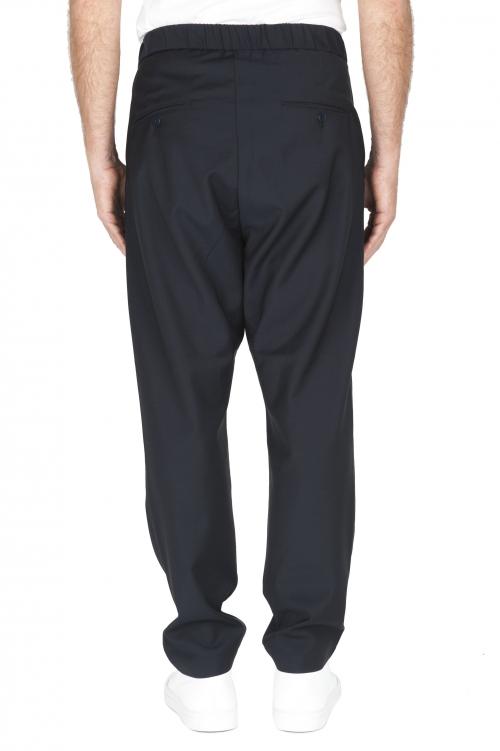 SBU 01886_19AW Pantalones de lana fresca con cintura con cordón azul 01