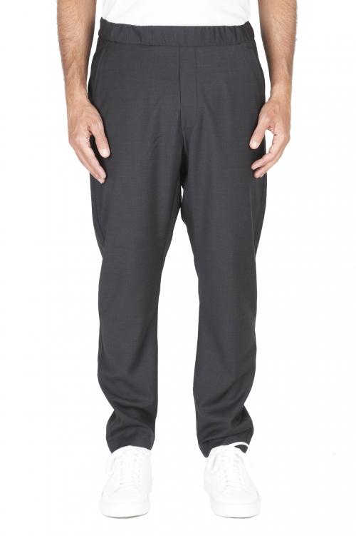 SBU 01887_19AW Gray drawstring waist fresh wool pants 01