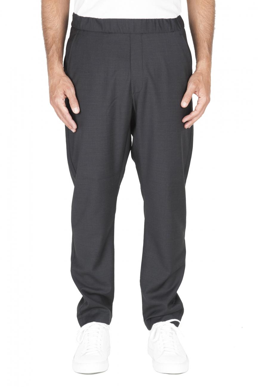 SBU 01887_19AW Pantalone con elastico in fresco di lana grigio 01