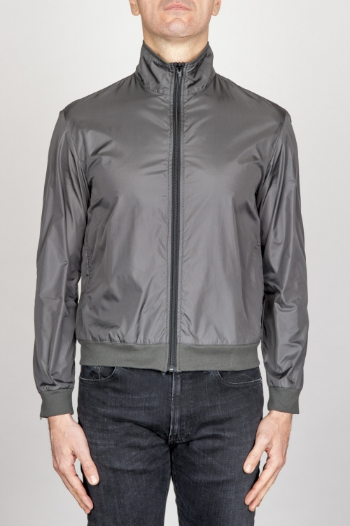 Windbreaker Jacket In Grey Ultra Lightweight Nylon