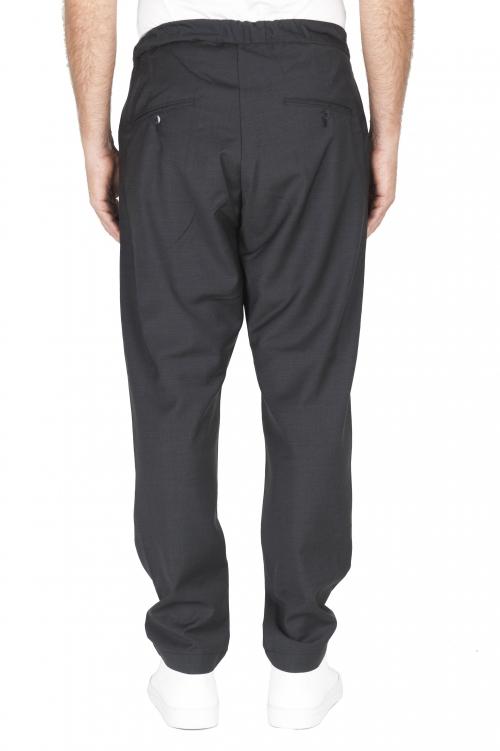 SBU 01887_19AW Pantalon en laine fraîche à taille coulissée gris 01