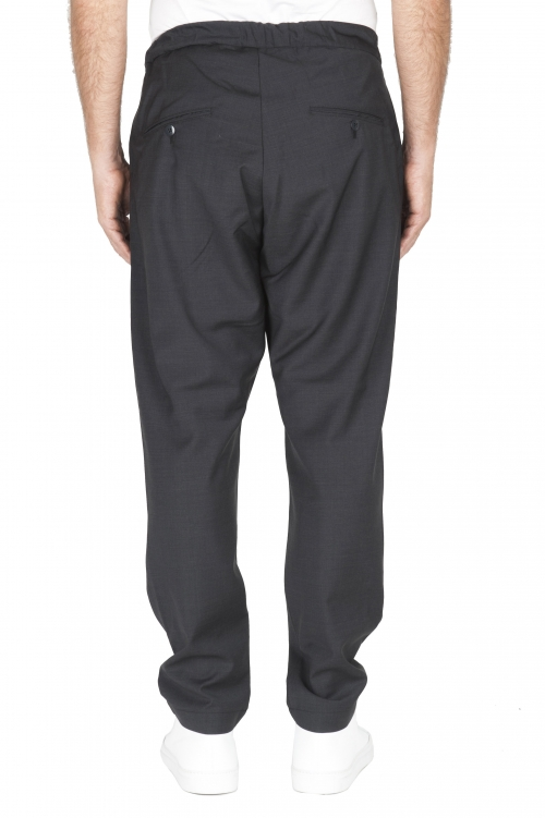 SBU 01887_19AW Pantalones de lana fresca con cintura con cordón gris 01