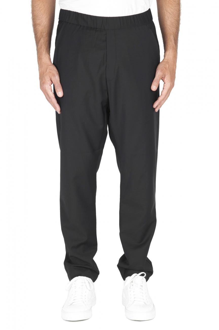 SBU 01888_19AW Pantalon en laine fraîche à taille coulissée noir 01