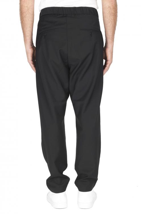 SBU 01888_19AW Pantalones de lana fresca con cintura con cordón negro 01