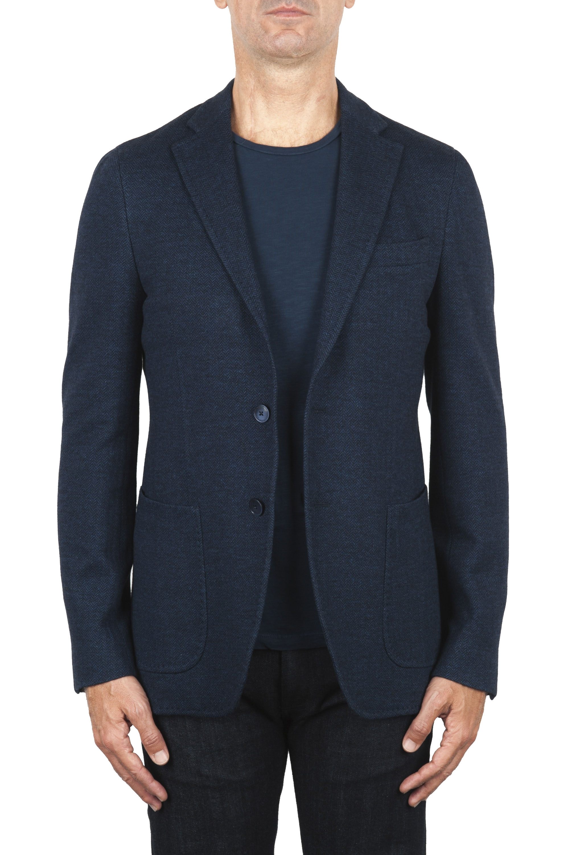 SBU 01891_19AW Blue wool and cotton blazer unconstructed and unlined 01