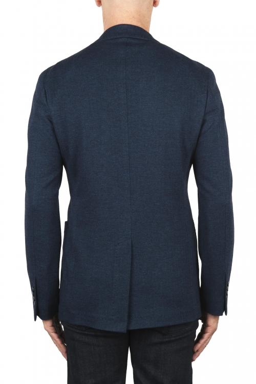 SBU 01891_19AW Blazer bleu en laine et coton déstructurés  et sans doublure 01