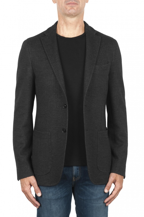 SBU 01892_19AW Gray wool and cotton blazer unconstructed and unlined 01