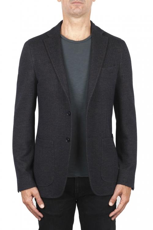 SBU 01893_19AW Blazer de lana y algodón marrón desestructurada y sin forro 01