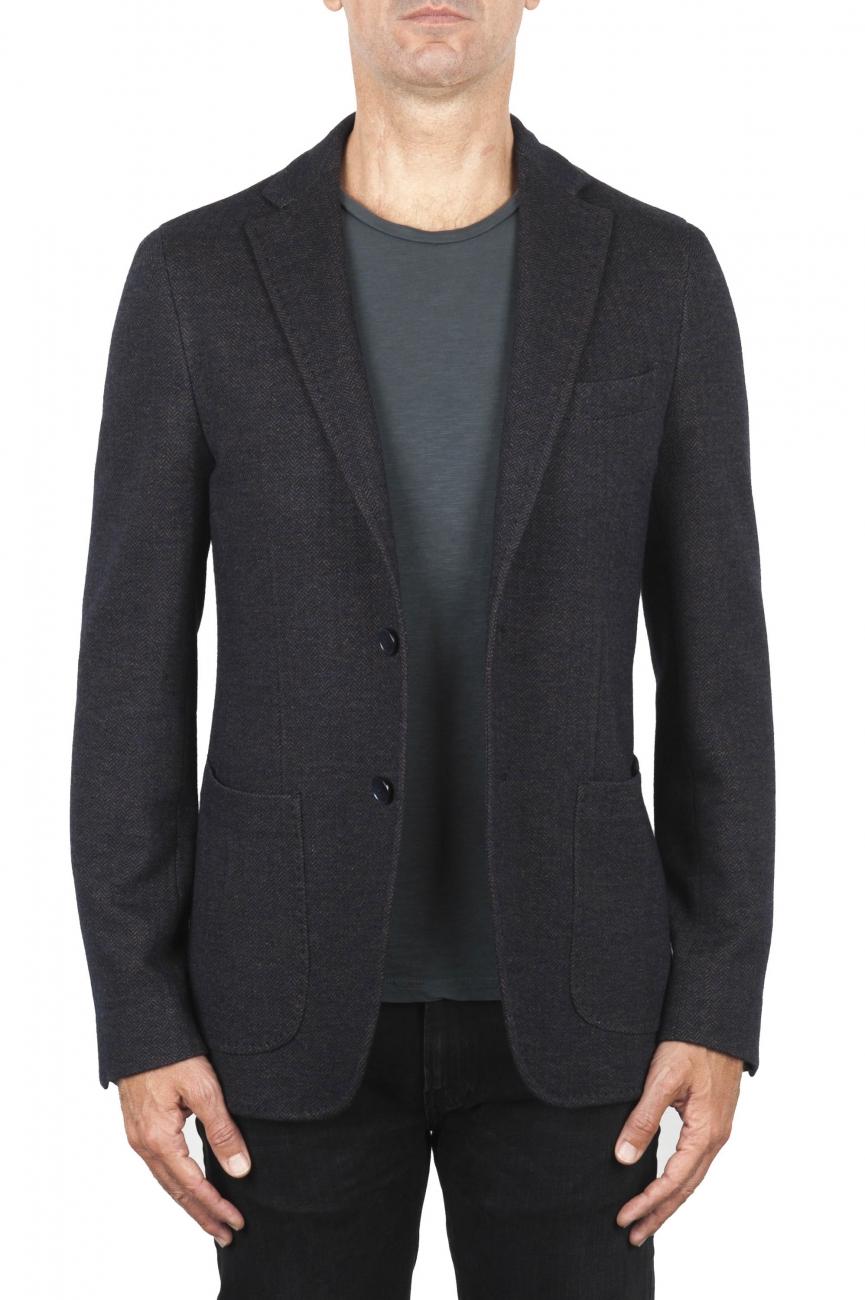SBU 01893_19AW Blazer marron en laine et coton déstructurés  et sans doublure 01