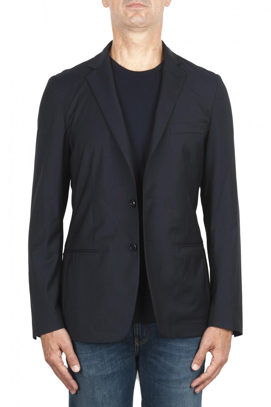 SBU 01894_19AW Blazer de lana fresca azul desestructurada y sin forro 01