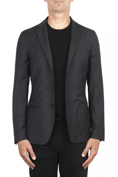 SBU 01895_19AW グレーのクールウールジャケットは未構築で裏地なし 01