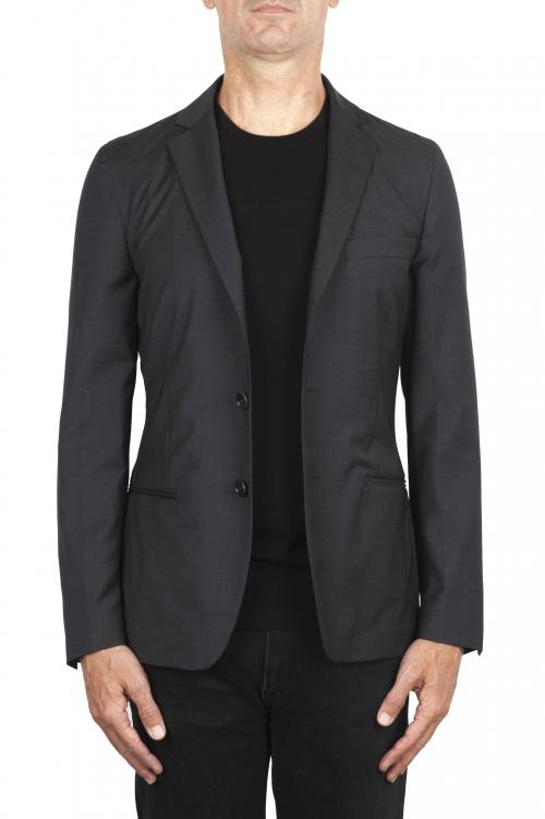 SBU 01895_19AW Blazer gris en laine fraîche déstructurés  et sans doublure 01