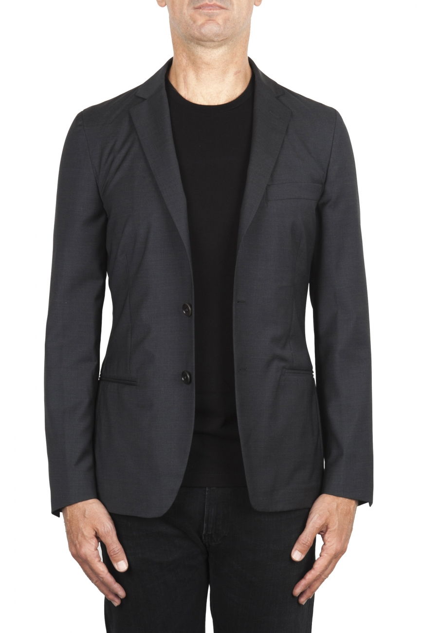 SBU 01895_19AW Blazer de lana fresca gris desestructurada y sin forro 01