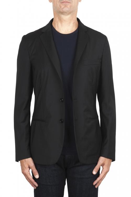 SBU 01896_19AW Blazer noir en laine fraîche déstructurés  et sans doublure 01