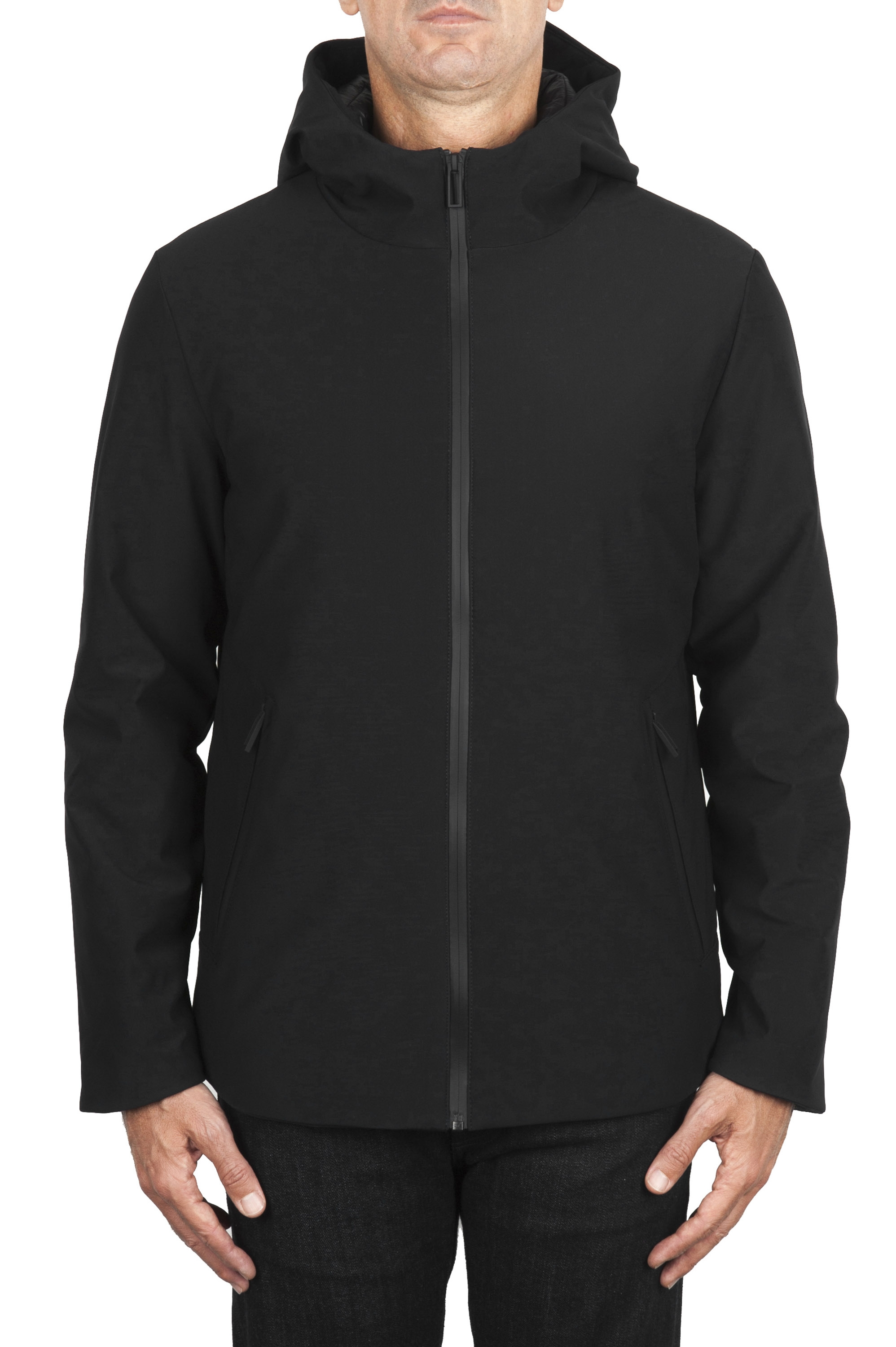 SBU 01900_19AW Black thermic waterproof short parka 01
