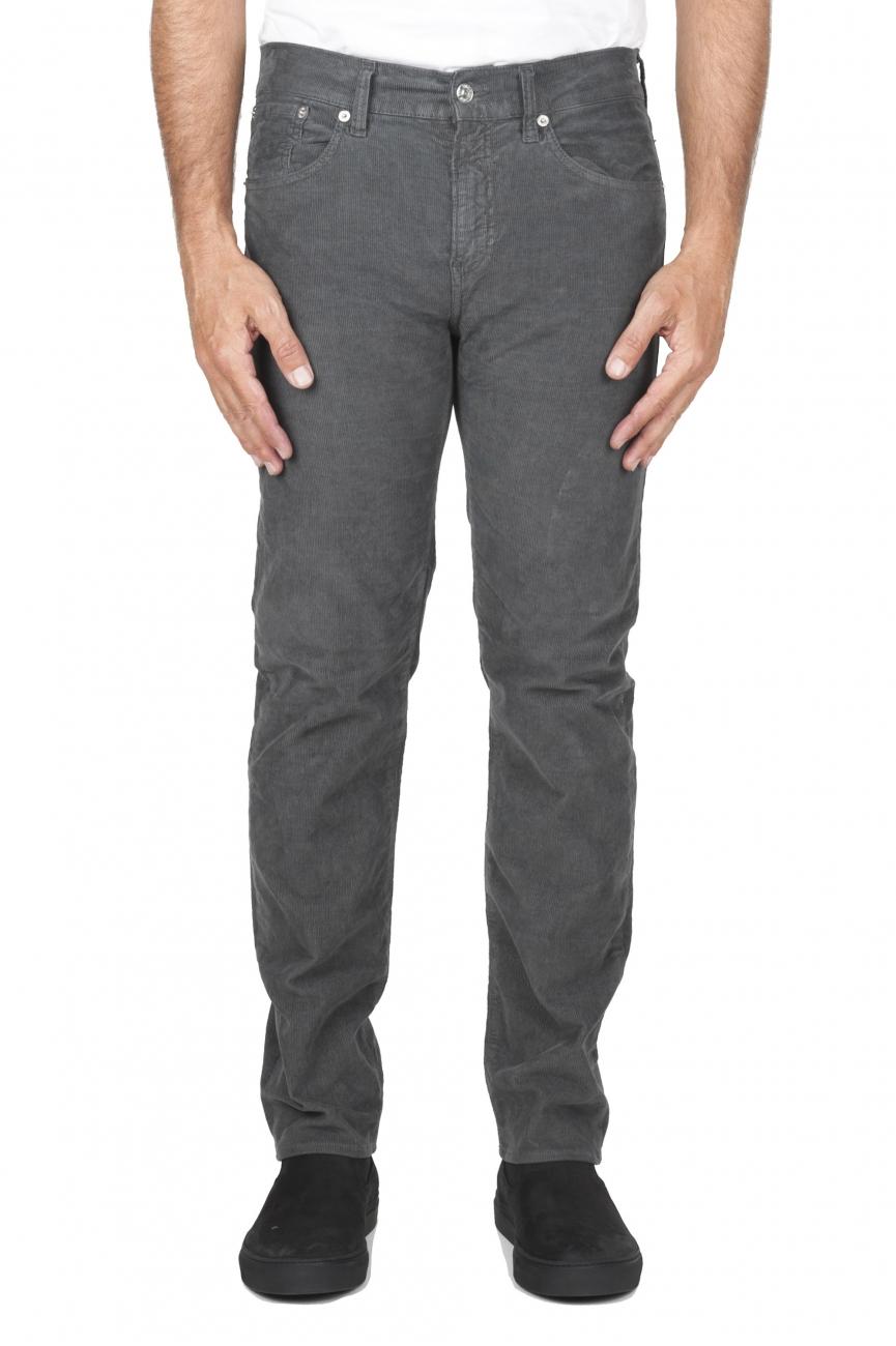 SBU 01457_19AW Jean en velours de coton côtelé extensible gris délavé sur lavé 01