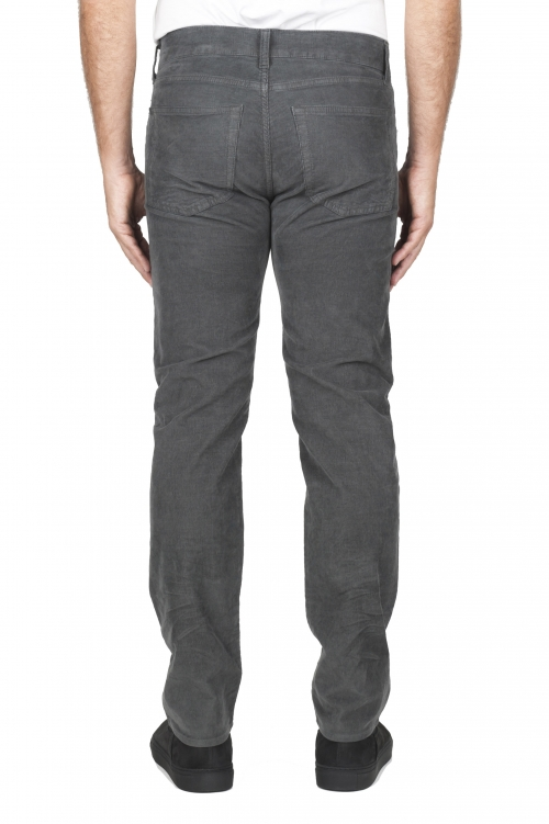 SBU 01457_19AW Grey overdyed pre-washed stretch ribbed corduroy cotton jeans 01