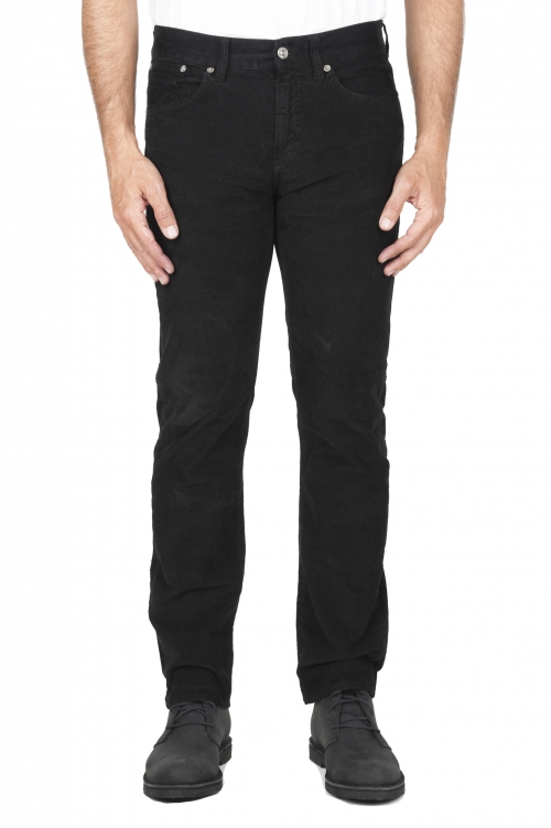 SBU 01459_19AW Black overdyed pre-washed stretch ribbed corduroy cotton jeans 01