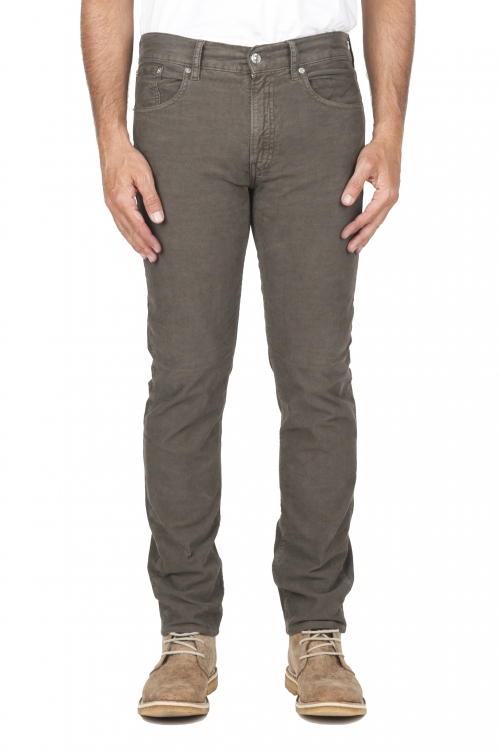 SBU 01460_19AW Olive overdyed pre-washed stretch ribbed corduroy cotton jeans 01