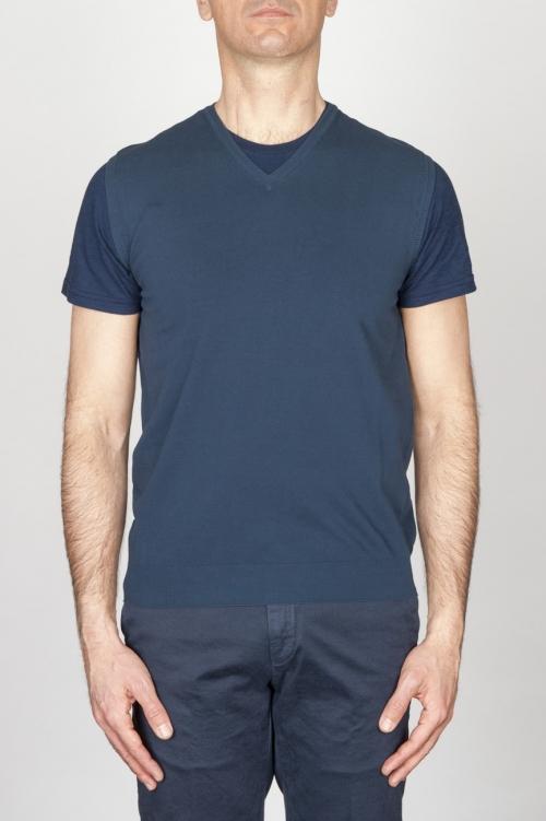 Classic V Neck Cotton Knit Blue Sleeveless Sweater Vest