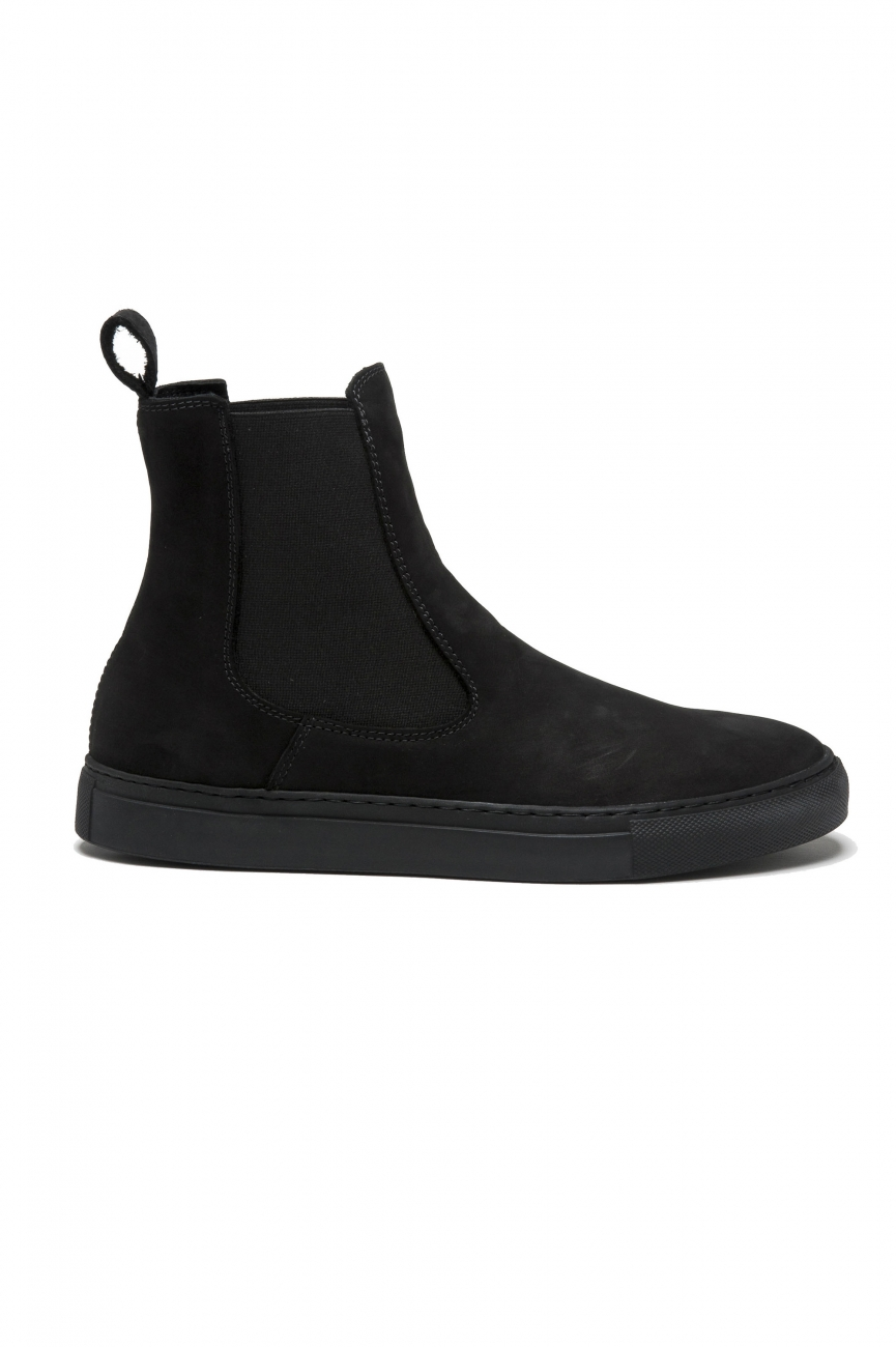 SBU 01506_19AW Classic elastic sided boots in black nubuck calfskin leather 01