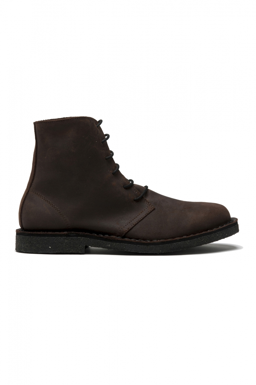 SBU 01509_19AW Classic high top desert boots in brown oiled calfskin leather 01