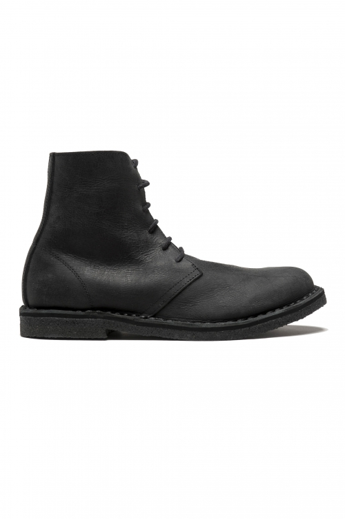 SBU 01511_19AW Classic high top desert boots in black waxed calfskin leather 01