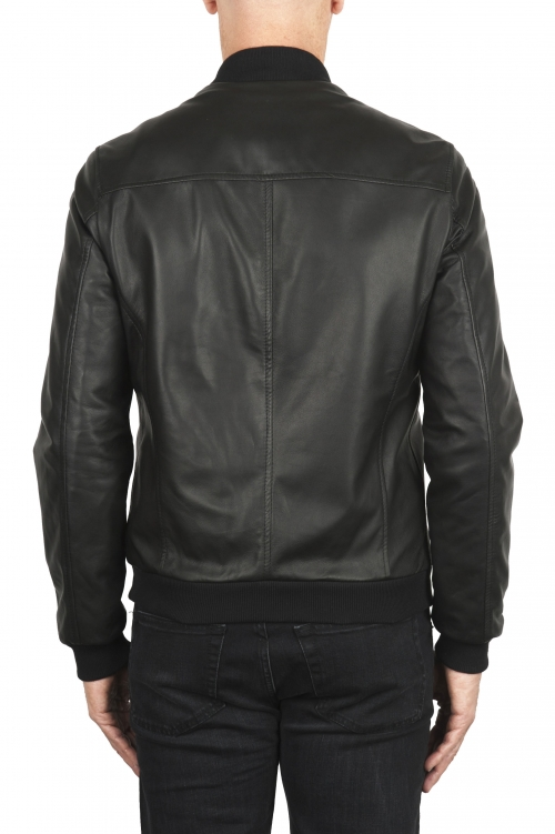 SBU 01903_19AW Black leather bomber jacket 01