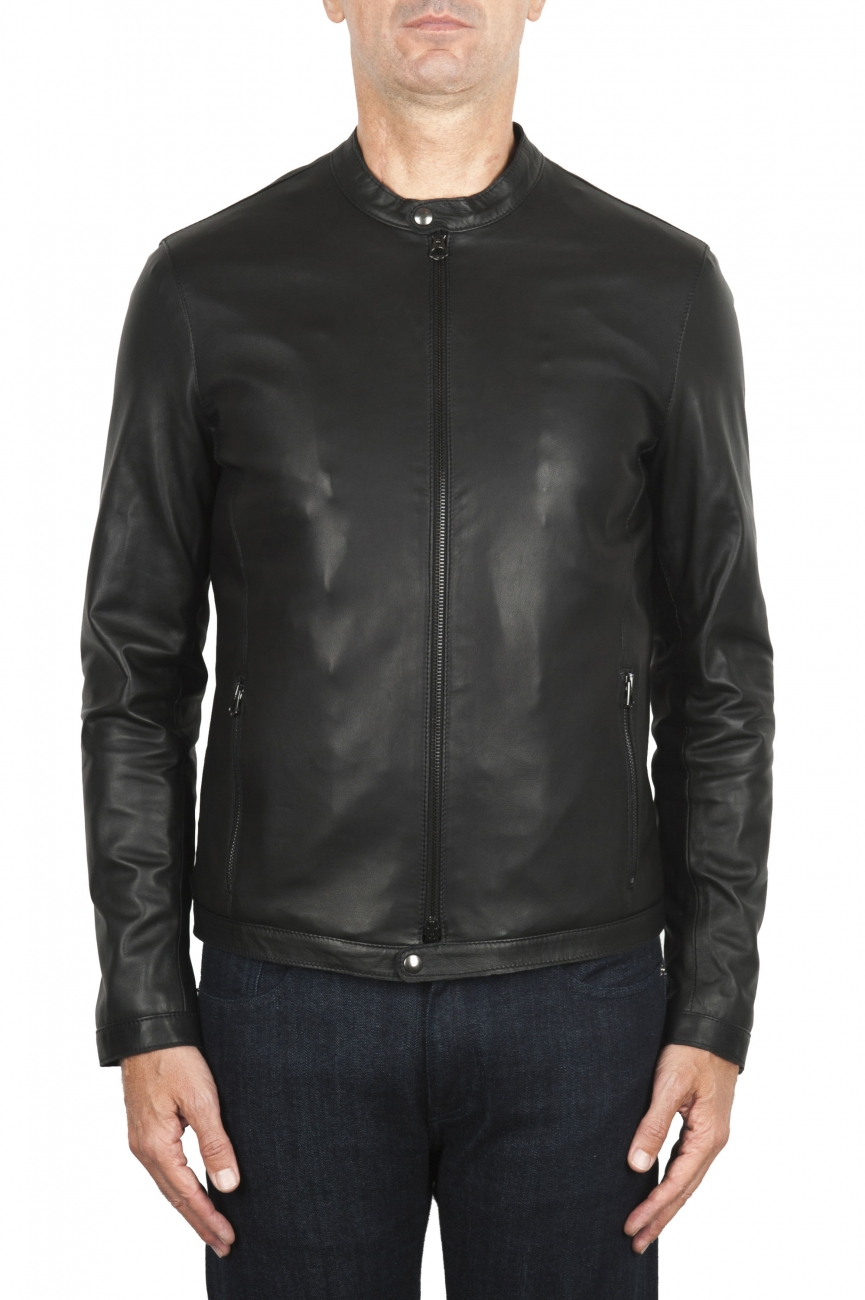 SBU 01904_19AW Black leather motorcycle jacket 01