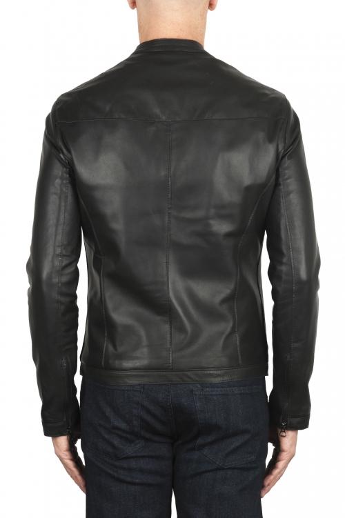 SBU 01904_19AW Giacca da motociclista in pelle nera  01