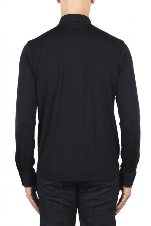 SBU 01908_19AW Classic long sleeve blue merino extra fine polo shirt  01