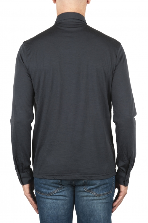 SBU 01909_19AW Classic long sleeve gray merino extra fine polo shirt  01